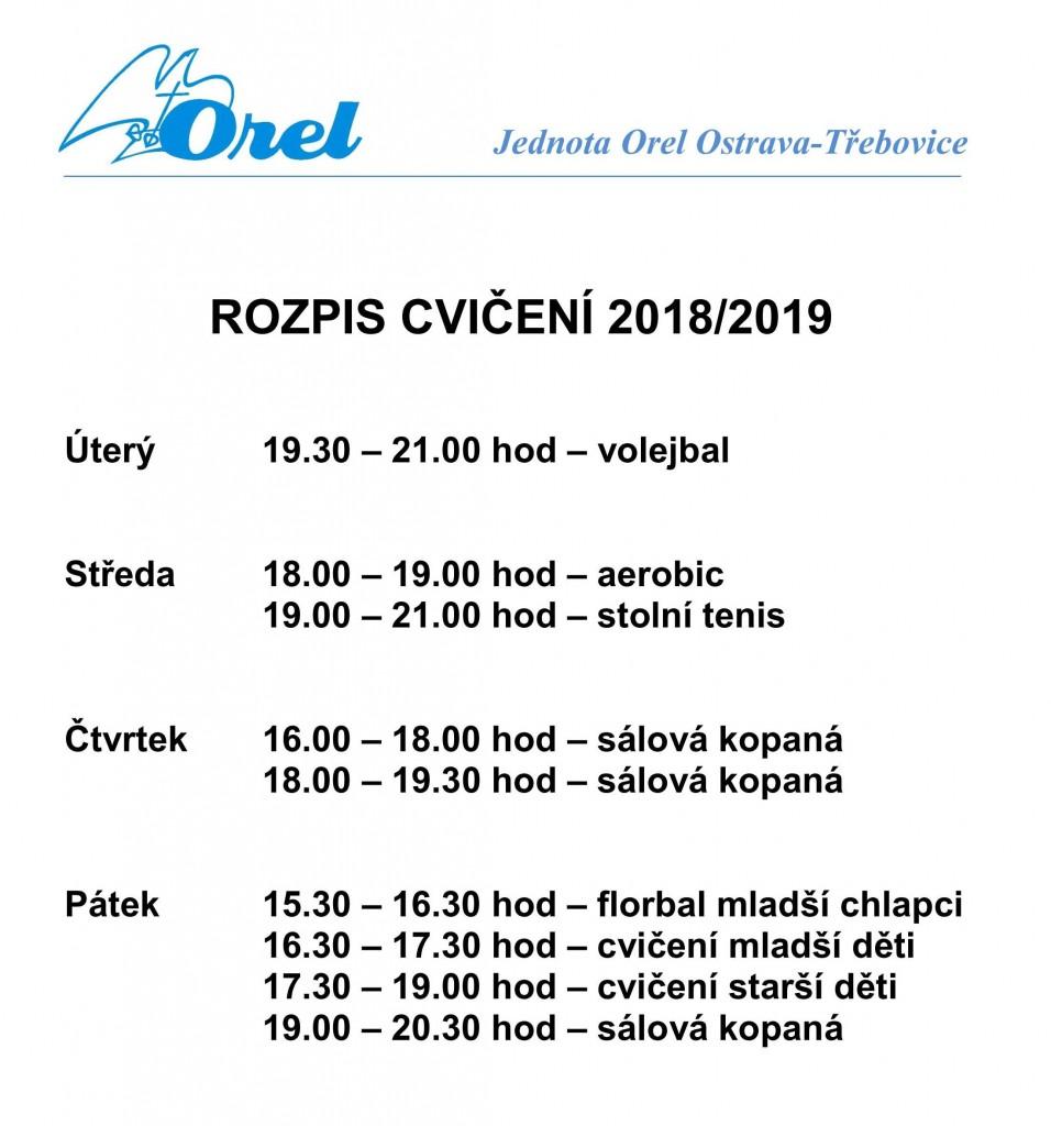 Rozpis cvičení 2018/19